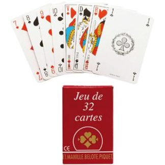 jeu de 32 cartes en etui carton